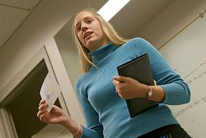 Students in Classrooms_WMUFemaleStudentPresentation_7331.jpg
