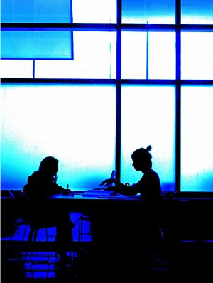 Students in Classrooms_WMUHHS2GirlsStudyTableBlue_2914.jpg